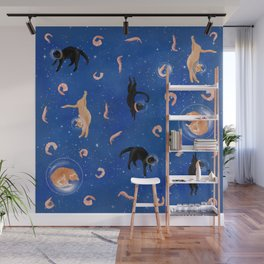 Astronaut Cats in Shrimp Heaven Wall Mural