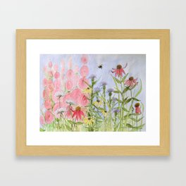 Botanical Floral Watercolor Pink Blue Yellow Flowers Blue Skies Framed Art Print