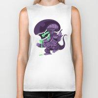 xenomorph Biker Tanks featuring Cute Xenomorph by nocturnallygeekyme