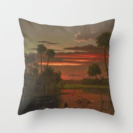 The Great Florida Sunset by Martin Johnson Heade Throw Pillow