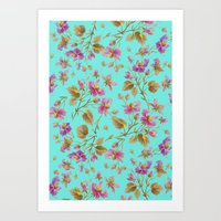 aelwen Art Prints featuring beach roses mint by Ariadne