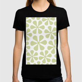 Abstract Flowers Lime Color on White T-shirt