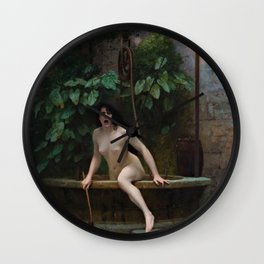 Truth Coming Out of Her Well Painting by Jean-Léon Gérôme Wall Clock
