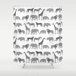 Safari animals minimal grey and white zebra giraffe cheetah hippo rhino nursery Shower Curtain