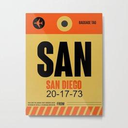 SAN San Diego Luggage Tag 1 Metal Print