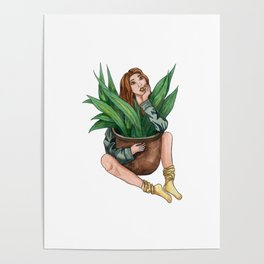 Girl with plant Poster