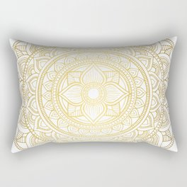 Hand Drawn Gold Bali Mandala Rectangular Pillow