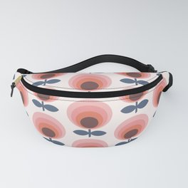 Mid century circle gradient flowers pattern on products Fanny Pack