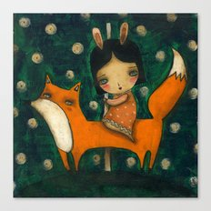 Riding My Fox Canvas Print