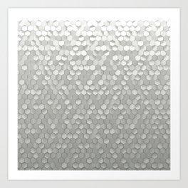 White hexagons Art Print