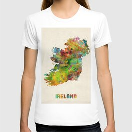 Ireland Eire Watercolor Map T-shirt