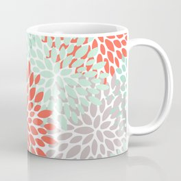 Floral Pattern, Living Coral, Teal and Mint Green Coffee Mug