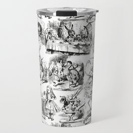Alice in Wonderland | Toile de Jouy Pattern | Black and White | Vintage Pattern | Victorian Gothic | Travel Mug
