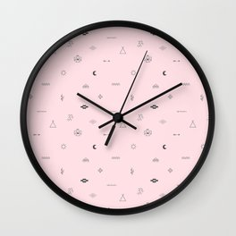 Southwestern Symbolic Pattern in Pale Pink & Charcoal Wall Clock