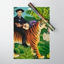 Henri Rousseau Dreaming of Tigers tropical big cat jungle scene by Henri Rousseau Wrapping Paper