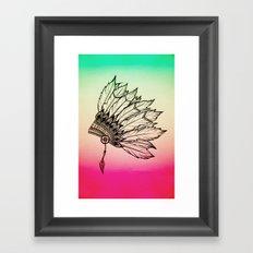Native American Spiritual Feather Headdress Framed Art Print