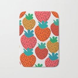 Funny strawberries Bath Mat