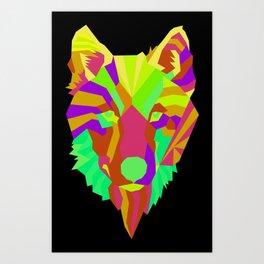 Neon Wolf Art Print