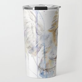 """Watercolor Painting of Picture """"White Owl"""" Travel Mug"""