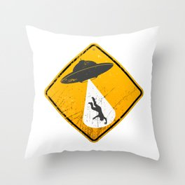 Caution: Abduction Zone Throw Pillow