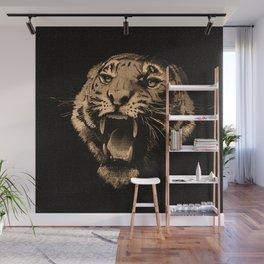 Vintage Tiger in black Wall Mural