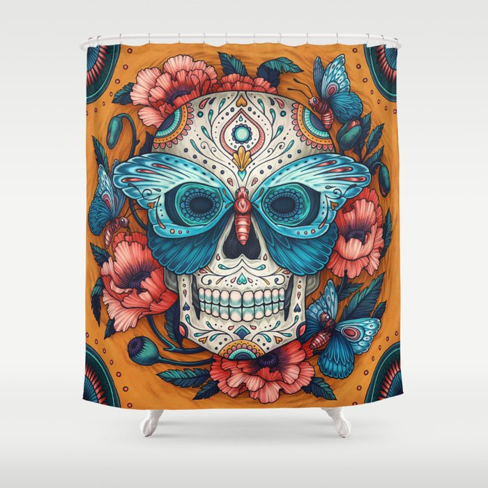 Day Of The Dead Shower Curtain By Kateoharaillustration