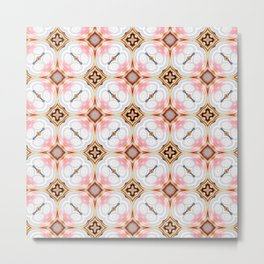 Gold Buttons Pink and White Pattern Metal Print