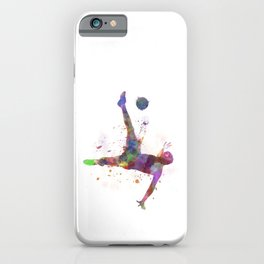 man soccer football player flying kicking silhouette iPhone Case