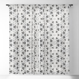 Modern abstract tiny triangle shaped lace modern abstract pattern Sheer Curtain
