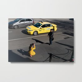 A Yellow Lady and A Yellow Taxi Metal Print