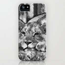 AnimalArtBW_Lion_20171205_by_JAMColors iPhone Case