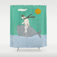 sailing Shower Curtains featuring sailing by bri.buckley