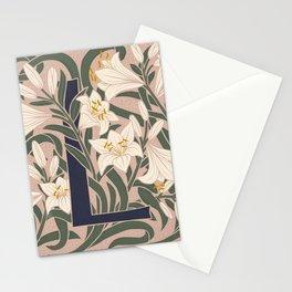 Floral Monogram Letter L Stationery Cards