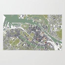 Copenhagen city map engraving Rug