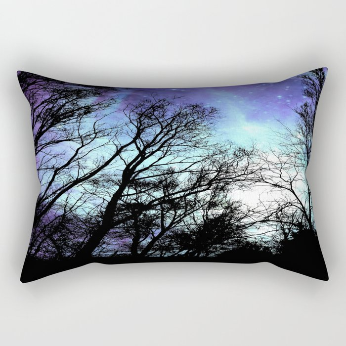 black trees periwinkle blue aqua space Rectangular Pillow