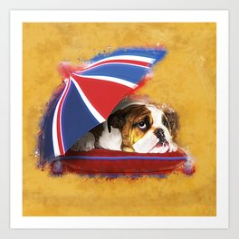 English Bulldog Puppy with umbrella Art Print