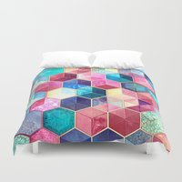 ruby Duvet Covers featuring Topaz & Ruby Crystal Honeycomb Cubes by micklyn