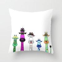 giraffes Throw Pillows featuring Giraffes by jozi.art