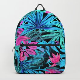 Tropical Leaves Floral Pattern Blue and Pink Backpack
