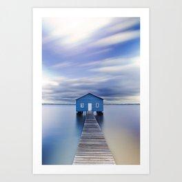 Blue Boat House Art Print