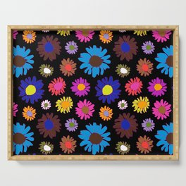 60's Daisy Crazy in Black Serving Tray