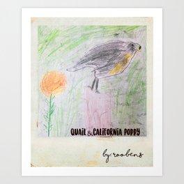 California Poppy & Quail Art Print