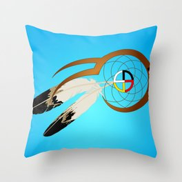 dreamcatcher blue Throw Pillow
