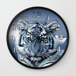 Blue White Tiger Wall Clock