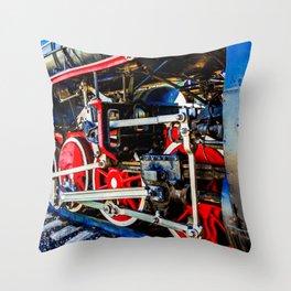 Power Of A Vintage Steam Engine Locomotive Throw Pillow