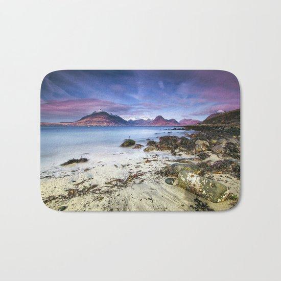 Beach Scene - Mountains, Water, Waves, Rocks - Isle of Skye, UK Bath Mat