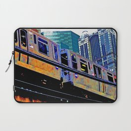 Chicago 'L' in multi color: Chicago photography - Chicago Elevated train Laptop Sleeve