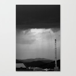 Stormy city in Black and White Canvas Print