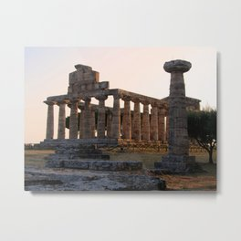 Paestum sunset Metal Print
