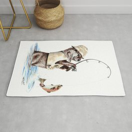 """ Natures Fisherman "" fishing river otter with trout Rug"